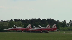 Three Northrop F-5E Tiger II Patrouille Suisse rolling to starting Stock Footage