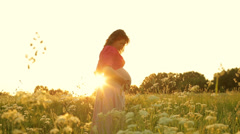 9 months pregnant young woman enjoying harmony with yourself and nature. - stock footage