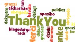 Thank you Word Cloud with white background Stock Footage