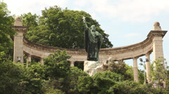 ST.GELLERT MONUMENT LONGSHOT LOW ANGLE 2 Stock Footage