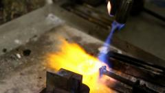 Blowtorch Heating Gold Stock Footage