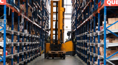 Logistics Warehouse - Forklift - stock footage