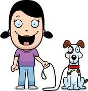 Cartoon girl walking dog Stock Illustration