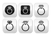 Stock Illustration of Diamond engagement ring vector buttons set