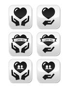 Hands with heart, love, relationship buttons set - stock illustration
