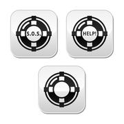 Life belt, help, s.o.s. vector buttons set - stock illustration