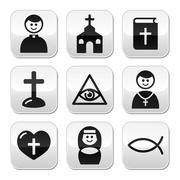 Religion, catholic church vector buttons set Stock Illustration