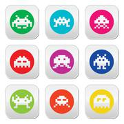 Space invaders, 8-bit aliens round icons set - stock illustration