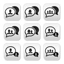 Stock Illustration of Business meeting, communication buttons set