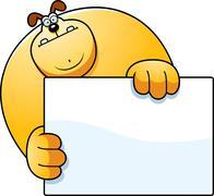 cartoon dog hiding - stock illustration