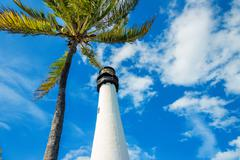 famous lighthouse at key biscayne, miami - stock photo