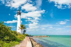 Famous lighthouse at key biscayne, miami Stock Photos