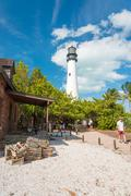 Tourists visit the lighthouse at key biscayne Stock Photos