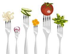 Forks and vegetables sequence. - stock illustration