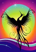 Phoenix bird silhouette re-birth - stock illustration