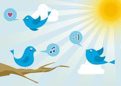 Twitter birds at social media sunrise Piirros