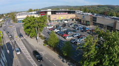 Irish Shopping Centre aerial tracking shot Stock Footage