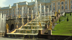 Fountain of the Grand cascade. Peterhof. Fountains. Petrodvorets. 4K. Stock Footage