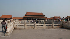 People inside the gates of the forbidden city in beijing china Stock Footage