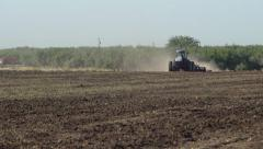 Freshly Tilled Soil with Tractor Stock Footage
