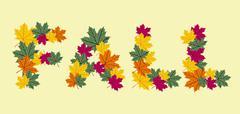 Autumn leaves written texture Stock Illustration