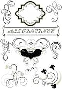 Stock Illustration of Frames and calligraphic ornaments for feel of pages