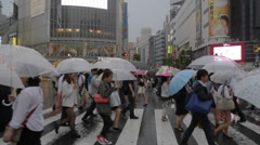 shibuya's famous crowded pedestrian crossing, tokyo. - stock footage