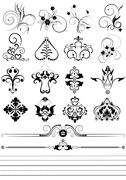 Stock Illustration of Collection of ornaments and brushes for design