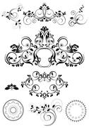 Stock Illustration of Collection of patterns and round frames