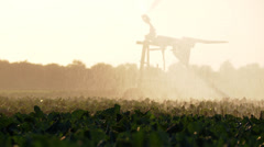 Watering a field with irrigation plant Stock Footage