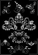 Collection white flourishes patterns on a black background - stock illustration