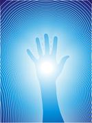 Healing hand with reiki lines Stock Illustration