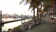Miami Beach Marina & promenade in early evening Stock Footage