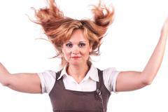 Beautiful girl throwing her hair Stock Photos