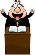 cartoon priest sermon - stock illustration