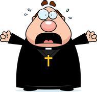 scared cartoon priest - stock illustration
