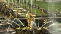 Samson Fountain. Peterhof. Fountains. Petrodvorets. 4K. - stock footage