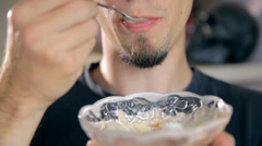 Eating Ice Cream From Glass Bowl Close Up Stock Footage