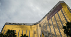 4K time lapse of clouds over the Mandalay Bay casino hotel resort in Las Vegas Stock Footage