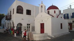 Mykonos Church with Red Roof & Door Stock Footage