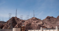 Hoover Dam with Transmission towers 4k - stock footage