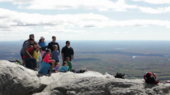 Taking a group picture on Mount Monadnock Stock Footage