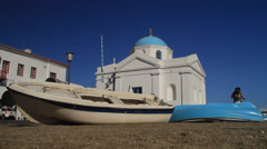 Wide Shot of Boats in Front of the Agios Nikolakis Church in Mykonos. Stock Footage