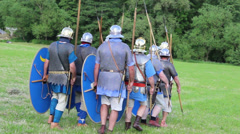 Roman army is marching, these clip was shot at a war reenactment Stock Footage