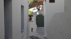 A white home with Green Door in Mykonos Stock Footage