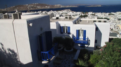 Big White home with blue shutters in Mykonos Stock Footage