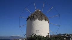 Windmill in Mykonos Stock Footage