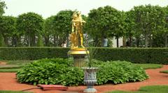 Fountains near the Monplaisir Palace. Peterhof. Fountains. Petrodvorets. 4K. - stock footage
