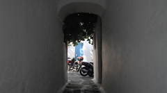 Archway leading to a courtyard in Mykonos Stock Footage