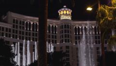 Bellagio with water show at night 4k Stock Footage